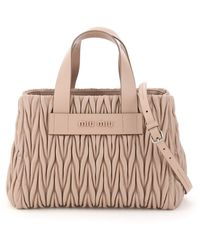Miu Miu Matelassé Top Handle Tote Bag - Natural