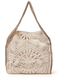 Stella McCartney Mini Crochet Falabella Shaggy Deer Bag - Natural
