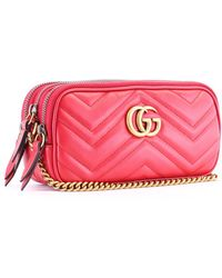 27837c1fd88 Lyst - Gucci Gg Marmont Chain Mini Bag in Pink