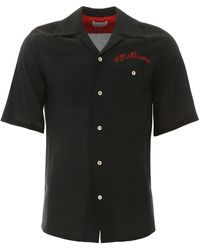 Alexander McQueen Shirt With Logo Embroidery - Black