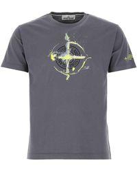 Stone Island Logo Printed T-shirt - Grey