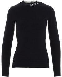 Karl Lagerfeld Striped Logo Collar Sweater - Black