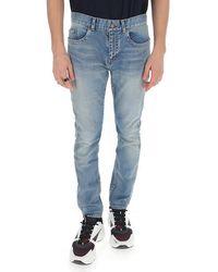 Saint Laurent 5 Pockets Skinny Fitted Jeans - Blue