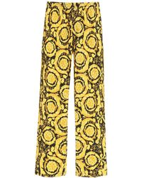 Versace Baroque Print Pyjama Trousers 1 Silk - Yellow