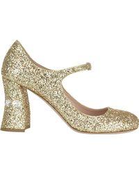 Miu Miu Glittered Court Shoes - Metallic