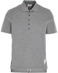 Thom Browne Rwb Stripe Polo Shirt - Gray