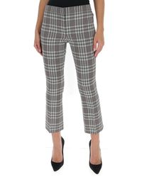 Theory Mid-rise Checked Kick Trousers - Grey