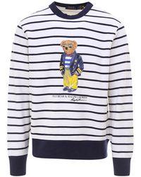 Polo Ralph Lauren Bear Printed Striped Sweatshirt - Blue