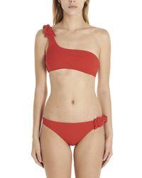 Zimmermann Zinnia Bow 1 Shoulder Bikini - Red