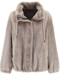 Brunello Cucinelli Shearling Zipped Jacket - Natural