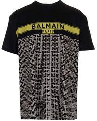 Balmain Logo Monogram Print T-shirt - Black