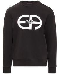 Emporio Armani Logo Printed Crewneck Sweatshirt - Black