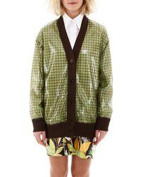 Fendi V Neck Sequinned Cardigan - Green