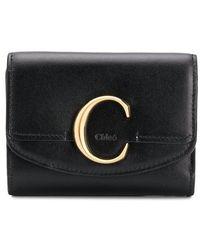 Chloé C Plaque Tri-fold Wallet - Black