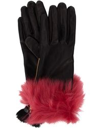 Prada Fur-trim Tassel Gloves - Black