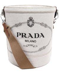 Prada Logo Print Bucket Bag - White