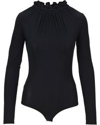 MM6 by Maison Martin Margiela Ruffle Neck Bodysuit - Black