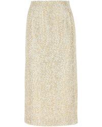 Alessandra Rich Sequin Tweed Midi Skirt - Metallic