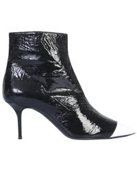 MSGM Glossy Boot With Contrast Tip - Black