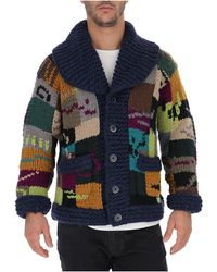 Barena Patchwork Chunky Knit Cardigan - Blue