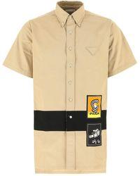 Prada Logo Patches Shirt - Natural