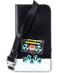 Prada Record Player Print Neck Cardholder - Black