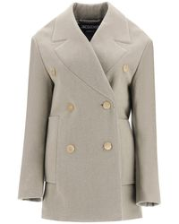Jacquemus Le Caban Oversized Double Breasted Coat - Natural