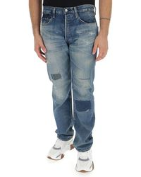Junya Watanabe Distressed Patches Straight-leg Jeans - Blue