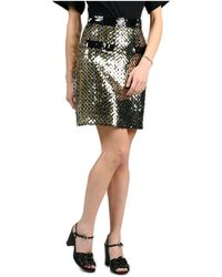 MSGM Sequin-embellished A-line Skirt - Metallic