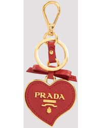 Prada Trick Logo Plaque Heart-shaped Keychain - Red