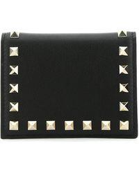 Valentino Garavani Rockstud Compact Wallet - Black