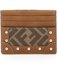 Fendi Card Holder Ff Os Leather,cotton - Brown