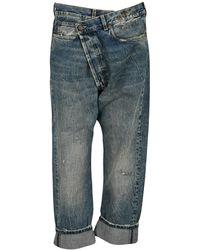 R13 Crossover Straight Leg Jeans - Blue