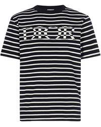 Dior Logo Striped Oversized T-shirt - Blue
