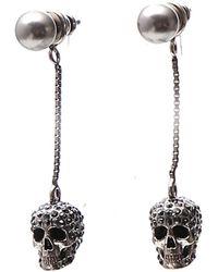 Alexander McQueen Skull Pendant Earrings - Metallic