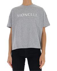 Moncler Embossed Lettering Logo T-shirt, Brand - Grey