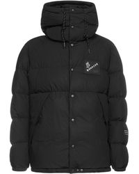 Moncler Genius Moncler X Fragment Hiroshi Fujiwara Logo Printed Hooded Puffer Jacket - Black
