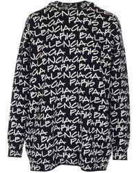 Balenciaga Paris Jacquard Print Sweater - Black