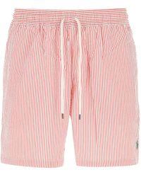 Polo Ralph Lauren Striped Swim Trunks - Pink