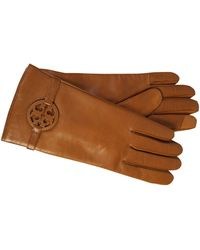 Tory Burch Logo Patch Leather Gloves - Brown