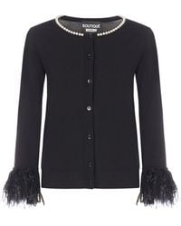 Boutique Moschino Pearl Embellished Cardigan - Black