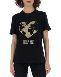 Alberta Ferretti Short-sleeved T-shirt With Lurex Embroidery Help Me - Black