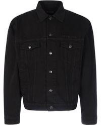 Balenciaga Logo Embroidered Denim Jacket - Black
