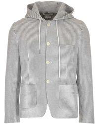 Thom Browne Striped Hooded Jacket - Grey