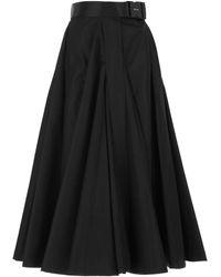 Prada Re-nylon Belted Midi Skirt - Black