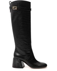 Fendi Embossed Block Heel Boots - Black