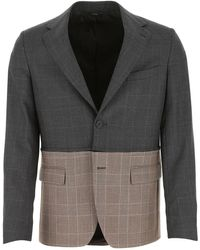 Fendi Zipped Bicolor Check Blazer - Grey