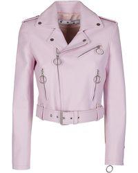 Off-White c/o Virgil Abloh Liquid Melt Leather Biker Jacket - Pink