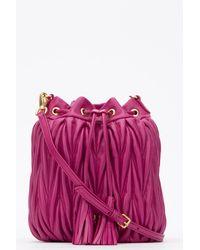 Miu Miu Matelassé Tassel Bucket Bag - Pink