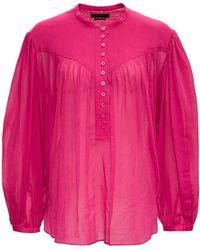 Isabel Marant Kiledia Pink Cotton And Silk Blouse